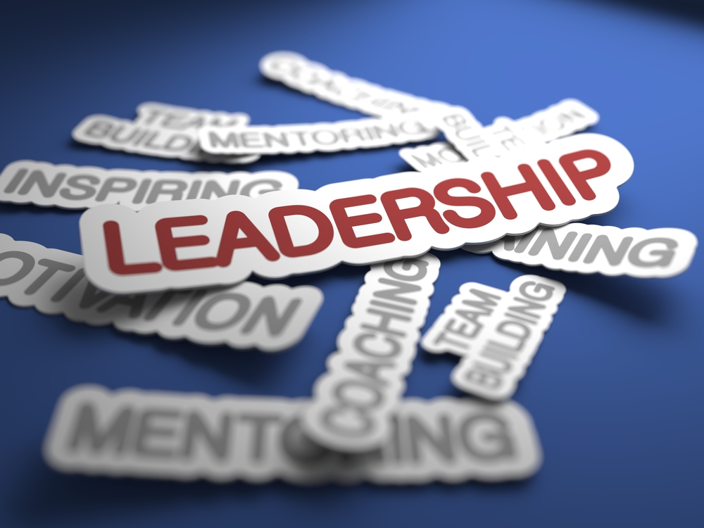 Leadership Text on Blue Background with Selective Focus. 3D Render.