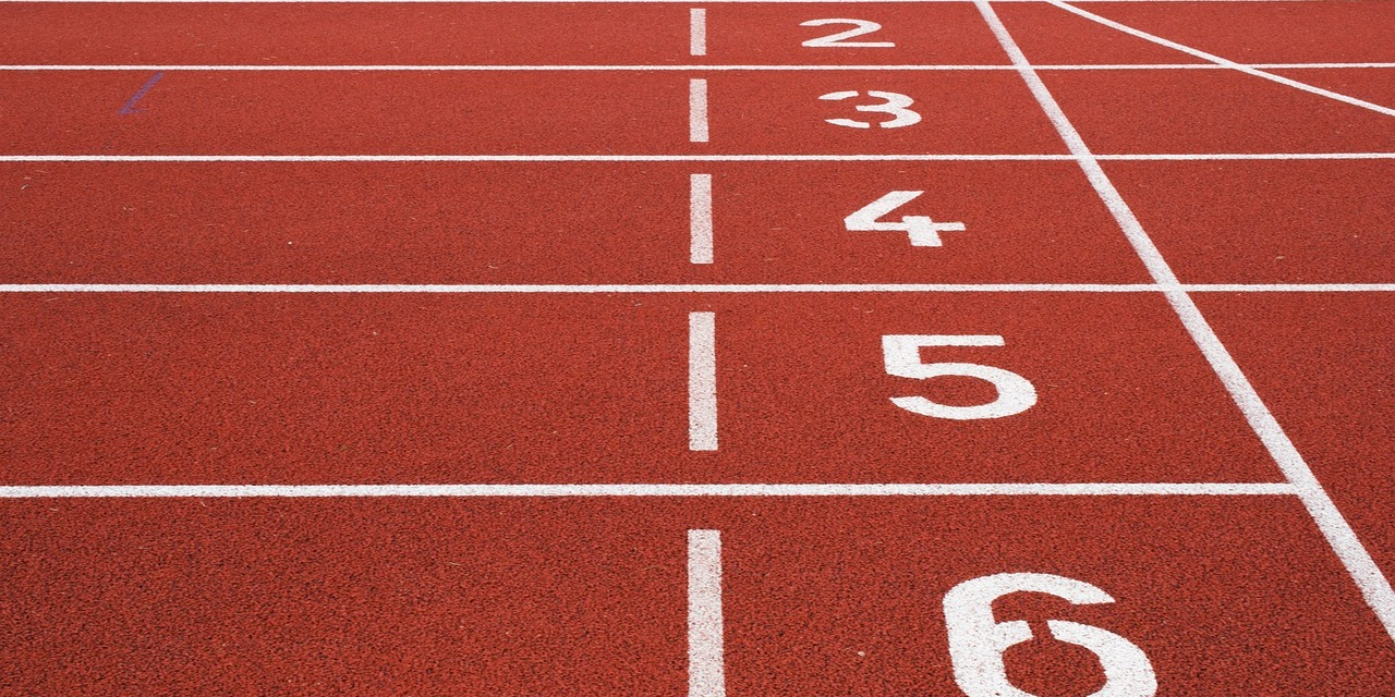 Close up of the starting position on a running track